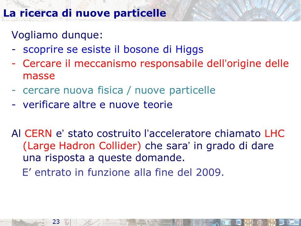 23 La ricerca di nuove particelle Vogliamo dunque: - scoprire se esiste il bosone di Higgs -Cercare il meccanismo responsabile dell ' origine delle masse -cercare nuova fisica / nuove particelle -verificare altre e nuove teorie Al CERN e ' stato costruito l ' acceleratore chiamato LHC (Large Hadron Collider) che sara ' in grado di dare una risposta a queste domande.