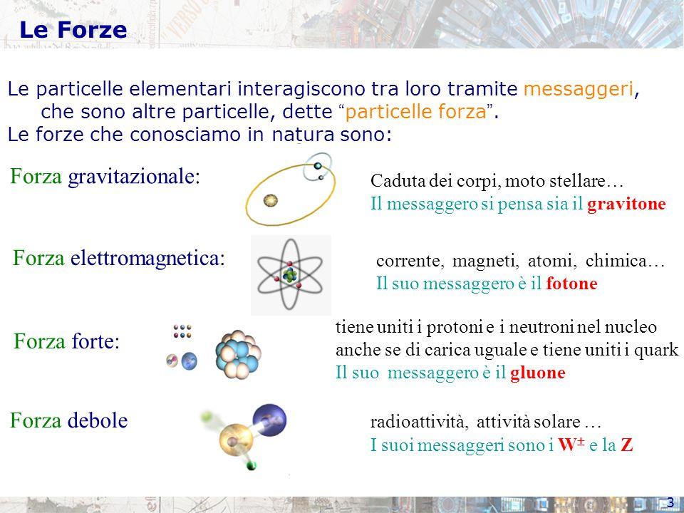 3 Le Forze Le particelle elementari interagiscono tra loro tramite messaggeri, che sono altre particelle, dette particelle forza .