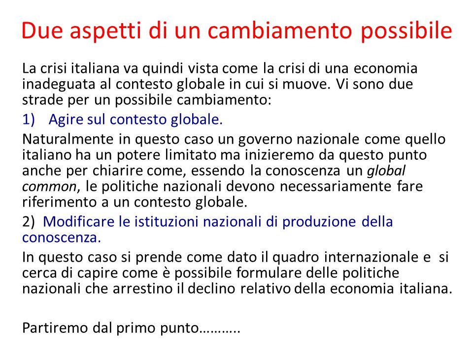 Due aspetti di un cambiamento possibile La crisi italiana va quindi vista come la crisi di una economia inadeguata al contesto globale in cui si muove