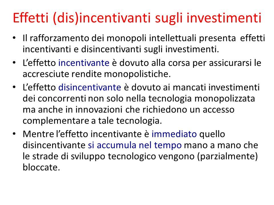 Effetti (dis)incentivanti sugli investimenti Il rafforzamento dei monopoli intellettuali presenta effetti incentivanti e disincentivanti sugli investimenti.