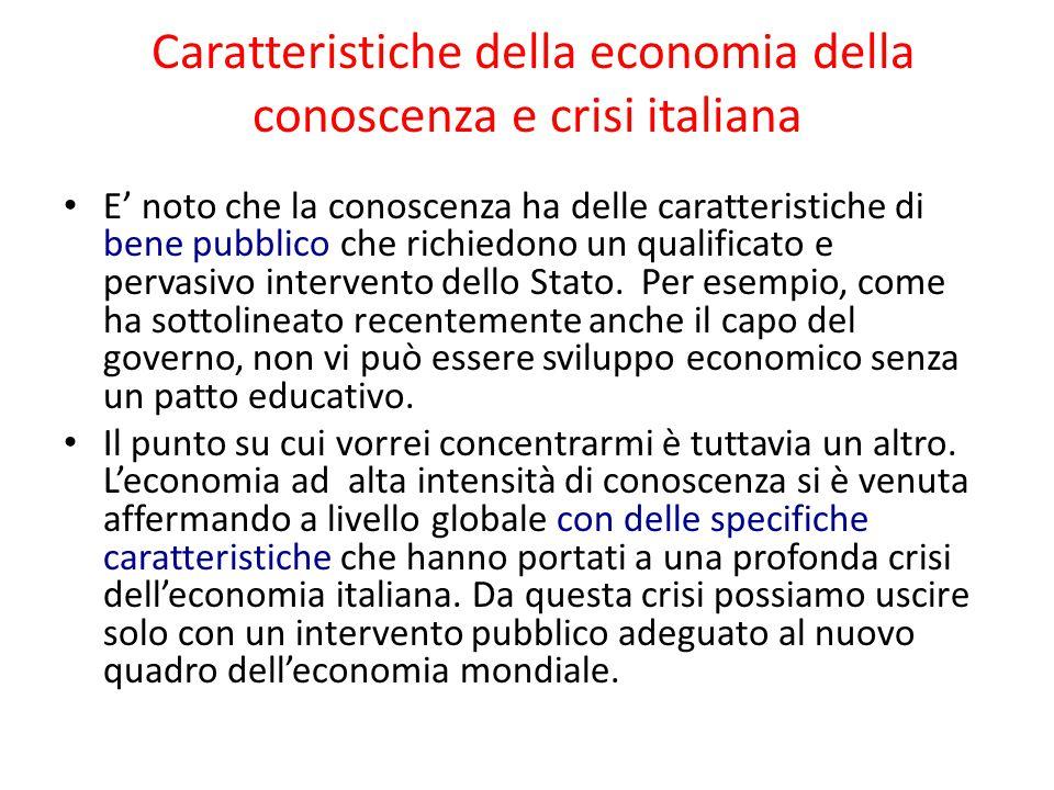 Caratteristiche della economia della conoscenza e crisi italiana E' noto che la conoscenza ha delle caratteristiche di bene pubblico che richiedono un
