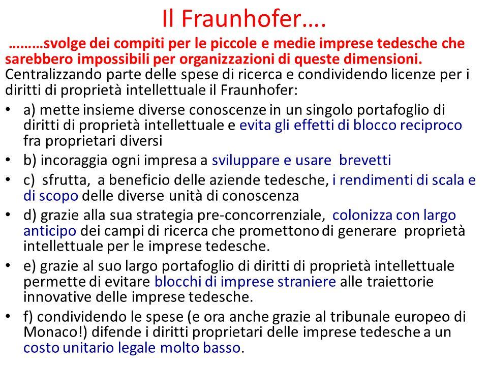 Il Fraunhofer…. ………svolge dei compiti per le piccole e medie imprese tedesche che sarebbero impossibili per organizzazioni di queste dimensioni. Centr