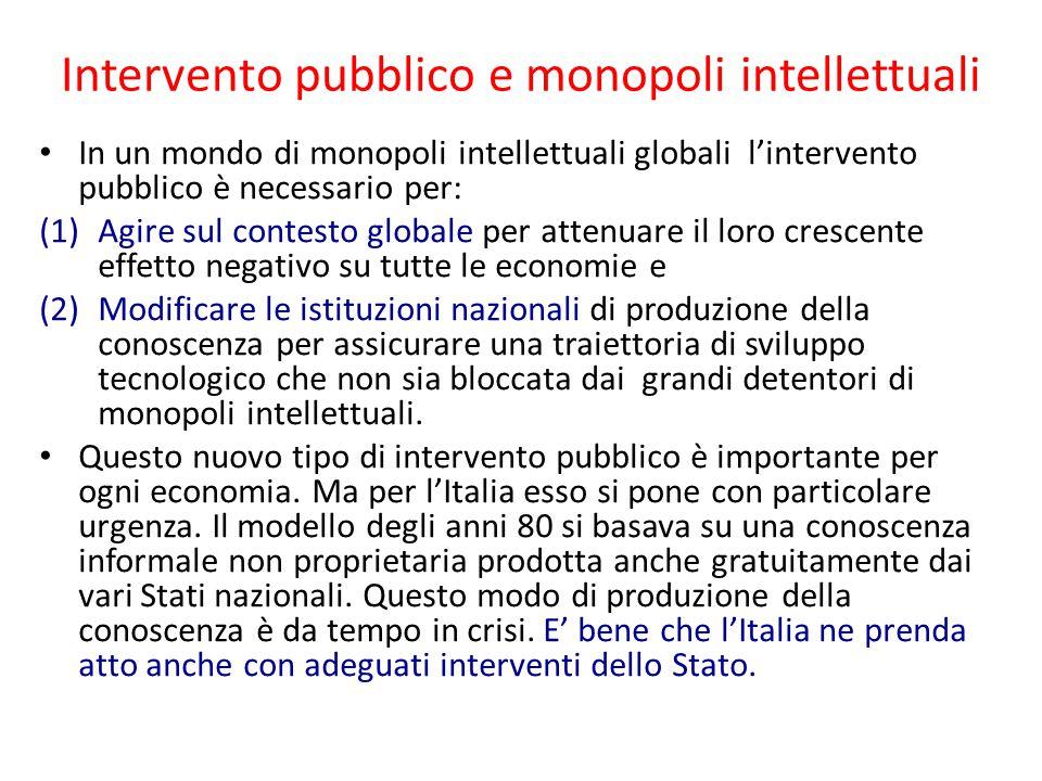 Intervento pubblico e monopoli intellettuali In un mondo di monopoli intellettuali globali l'intervento pubblico è necessario per: (1)Agire sul contes