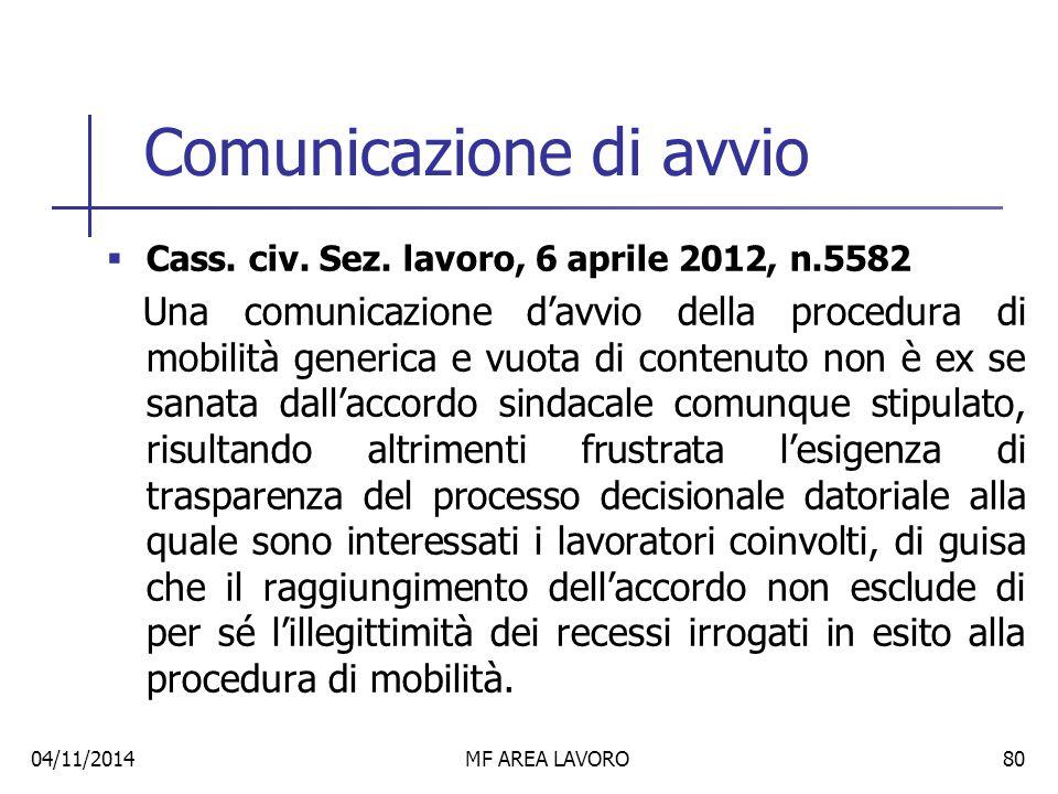 Comunicazione di avvio  Cass.civ. Sez.