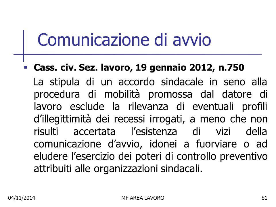 Licenziamenti collettivi nelle procedure concorsuali  Cass.