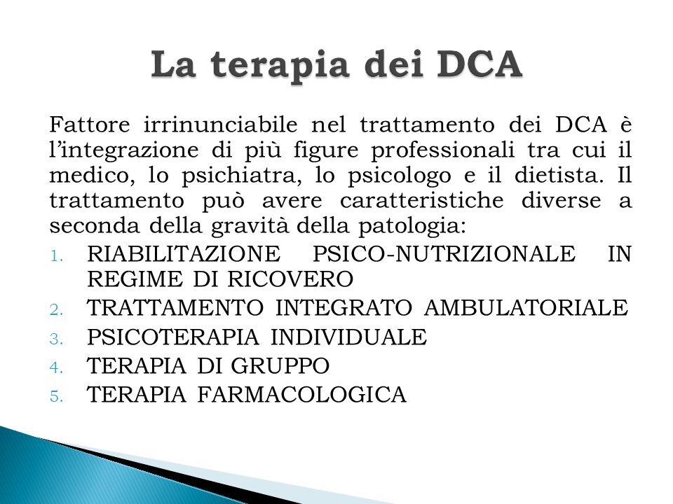 Fattore irrinunciabile nel trattamento dei DCA è l'integrazione di più figure professionali tra cui il medico, lo psichiatra, lo psicologo e il dietis