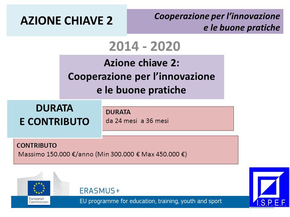 2014 - 2020 Azione chiave 2: Cooperazione per l'innovazione e le buone pratiche Cooperazione per l'innovazione e le buone pratiche AZIONE CHIAVE 2 DURATA da 24 mesi a 36 mesi CONTRIBUTO Massimo 150.000 €/anno (Min 300.000 € Max 450.000 €) DURATA E CONTRIBUTO