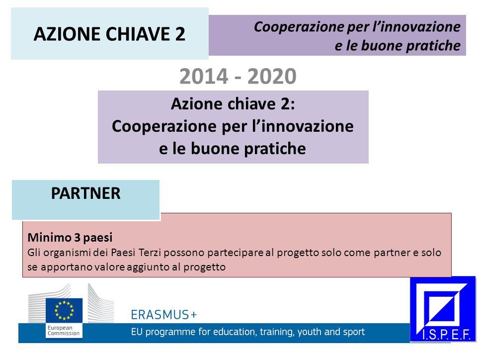 2014 - 2020 Azione chiave 2: Cooperazione per l'innovazione e le buone pratiche Cooperazione per l'innovazione e le buone pratiche AZIONE CHIAVE 2 Minimo 3 paesi Gli organismi dei Paesi Terzi possono partecipare al progetto solo come partner e solo se apportano valore aggiunto al progetto PARTNER
