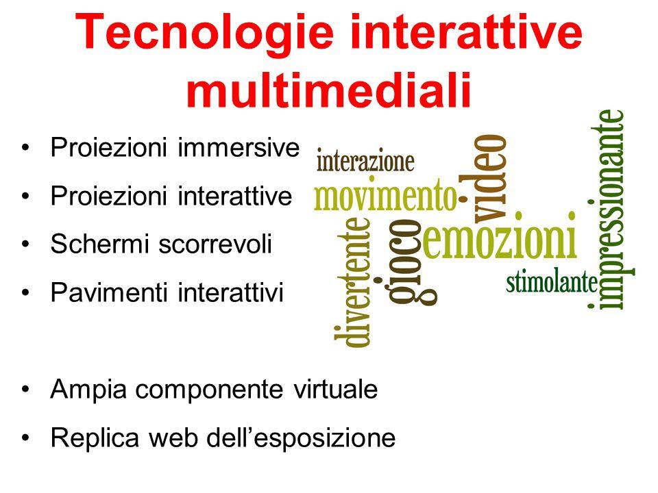 Proiezioni immersive Proiezioni interattive Schermi scorrevoli Pavimenti interattivi Ampia componente virtuale Replica web dell'esposizione Tecnologie