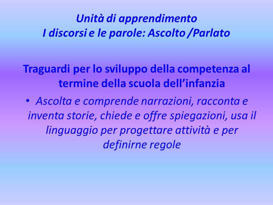 Unità di apprendimento I discorsi e le parole: Ascolto /Parlato Traguardi per lo sviluppo della competenza al termine della scuola dell'infanzia Ascol
