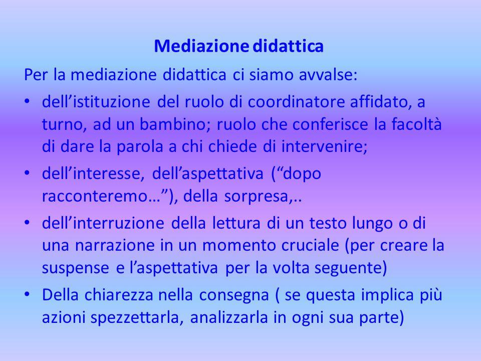 Mediazione didattica Per la mediazione didattica ci siamo avvalse: dell'istituzione del ruolo di coordinatore affidato, a turno, ad un bambino; ruolo