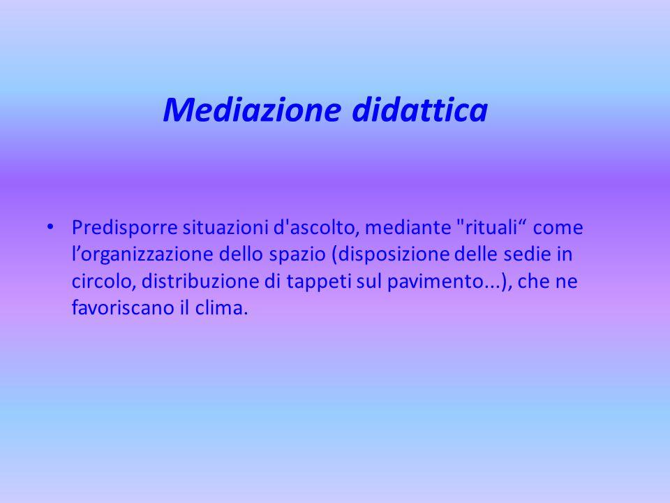 Mediazione didattica Predisporre situazioni d'ascolto, mediante