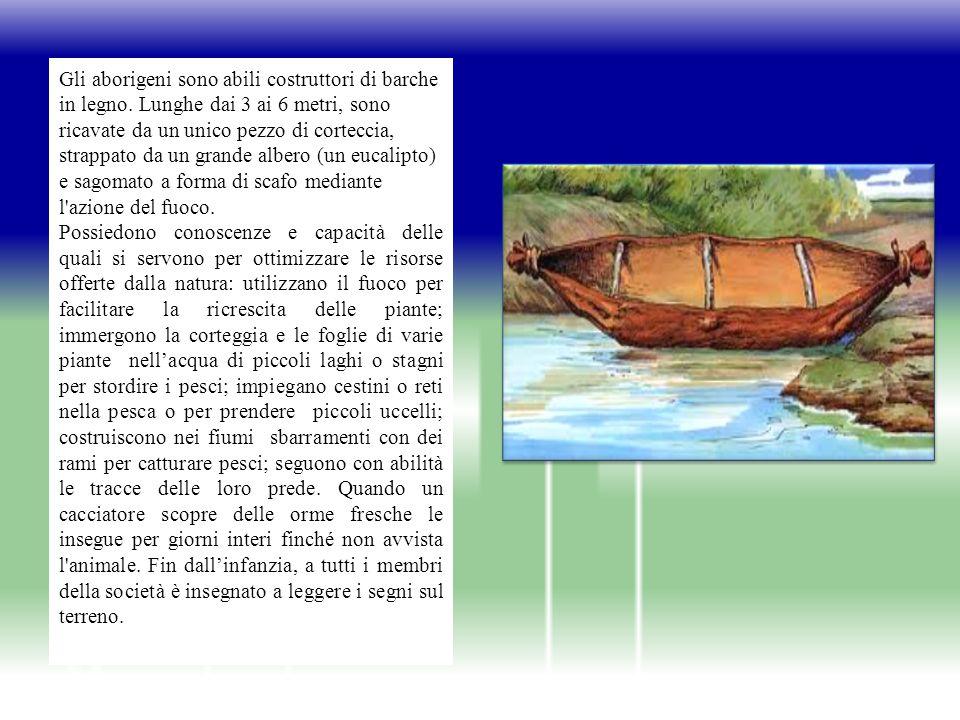 Gli aborigeni sono abili costruttori di barche in legno.