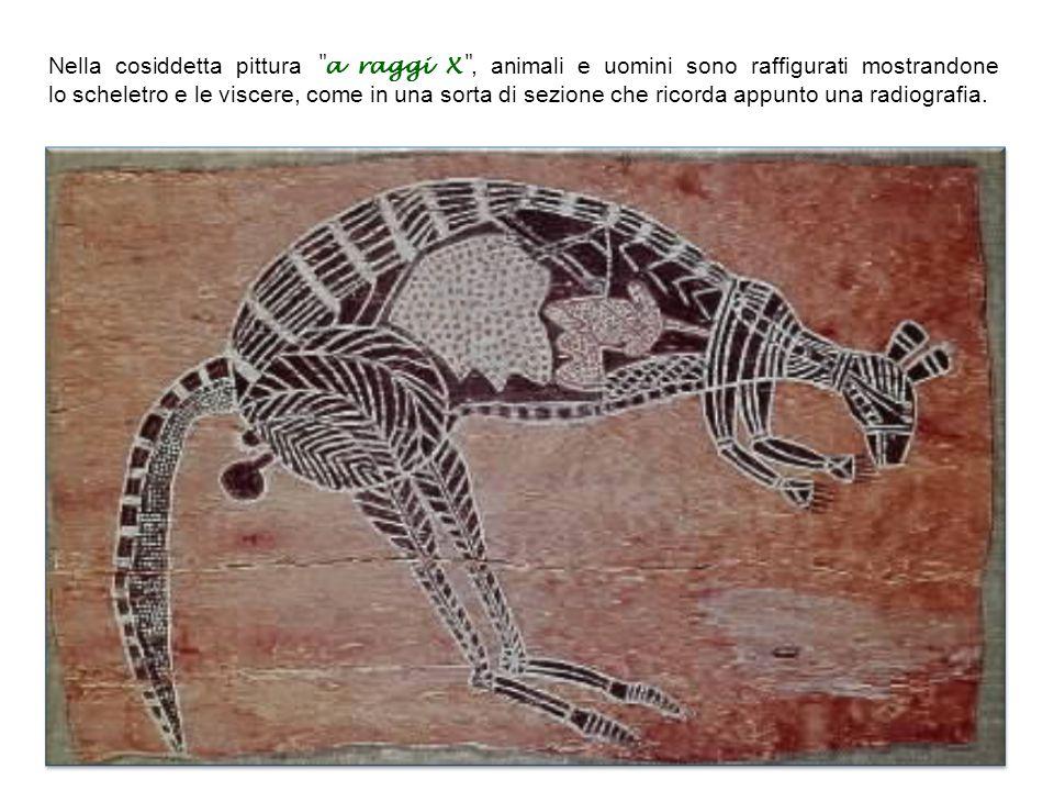 Nella cosiddetta pittura a raggi X , animali e uomini sono raffigurati mostrandone lo scheletro e le viscere, come in una sorta di sezione che ricorda appunto una radiografia.