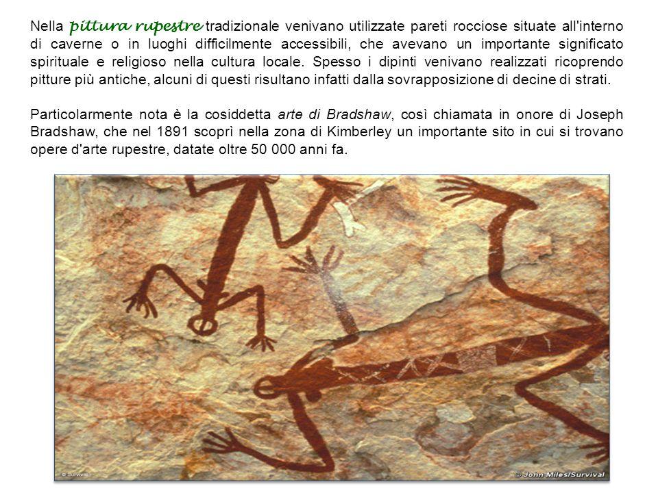 Nella pittura rupestre tradizionale venivano utilizzate pareti rocciose situate all interno di caverne o in luoghi difficilmente accessibili, che avevano un importante significato spirituale e religioso nella cultura locale.