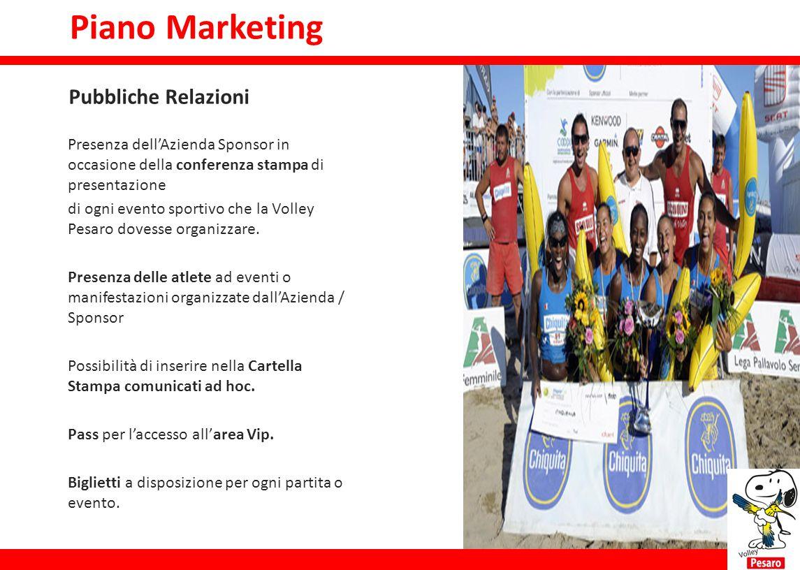 Piano marketing Presenza dell'Azienda Sponsor in occasione della conferenza stampa di presentazione di ogni evento sportivo che la Volley Pesaro doves