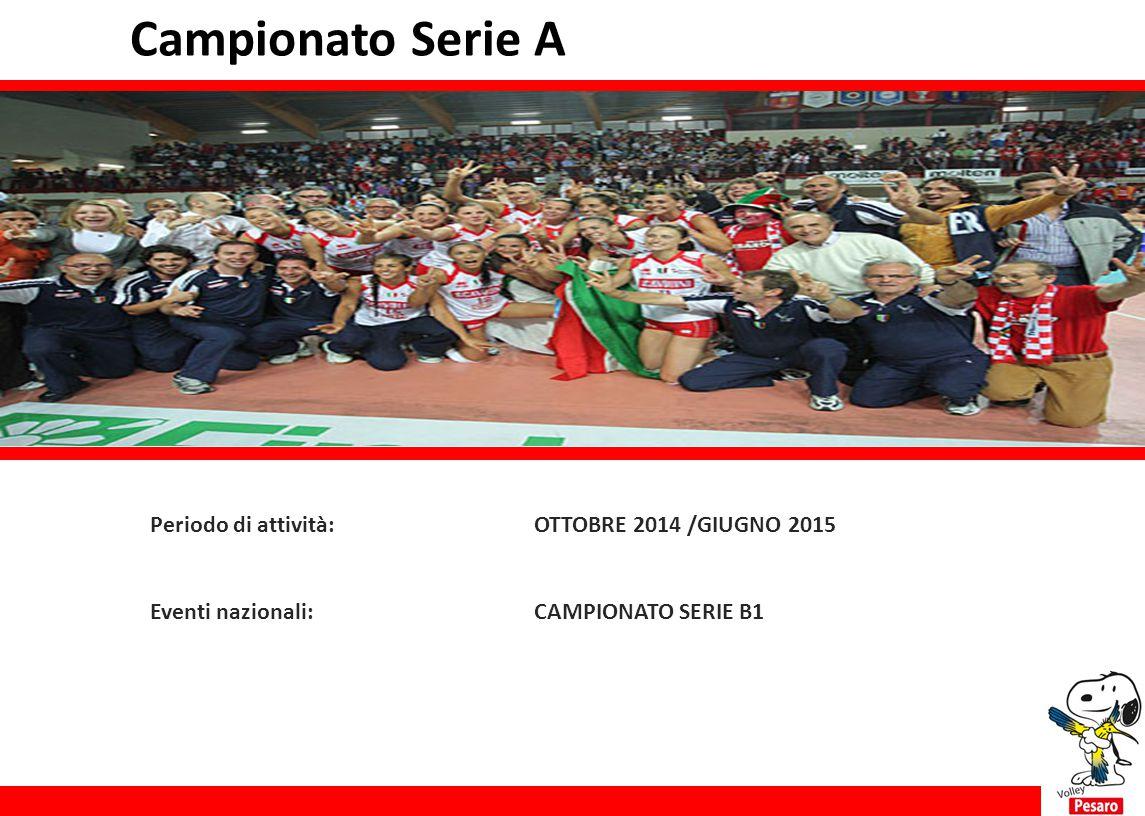 Campionato Serie A Periodo di attività:OTTOBRE 2014 /GIUGNO 2015 Eventi nazionali:CAMPIONATO SERIE B1