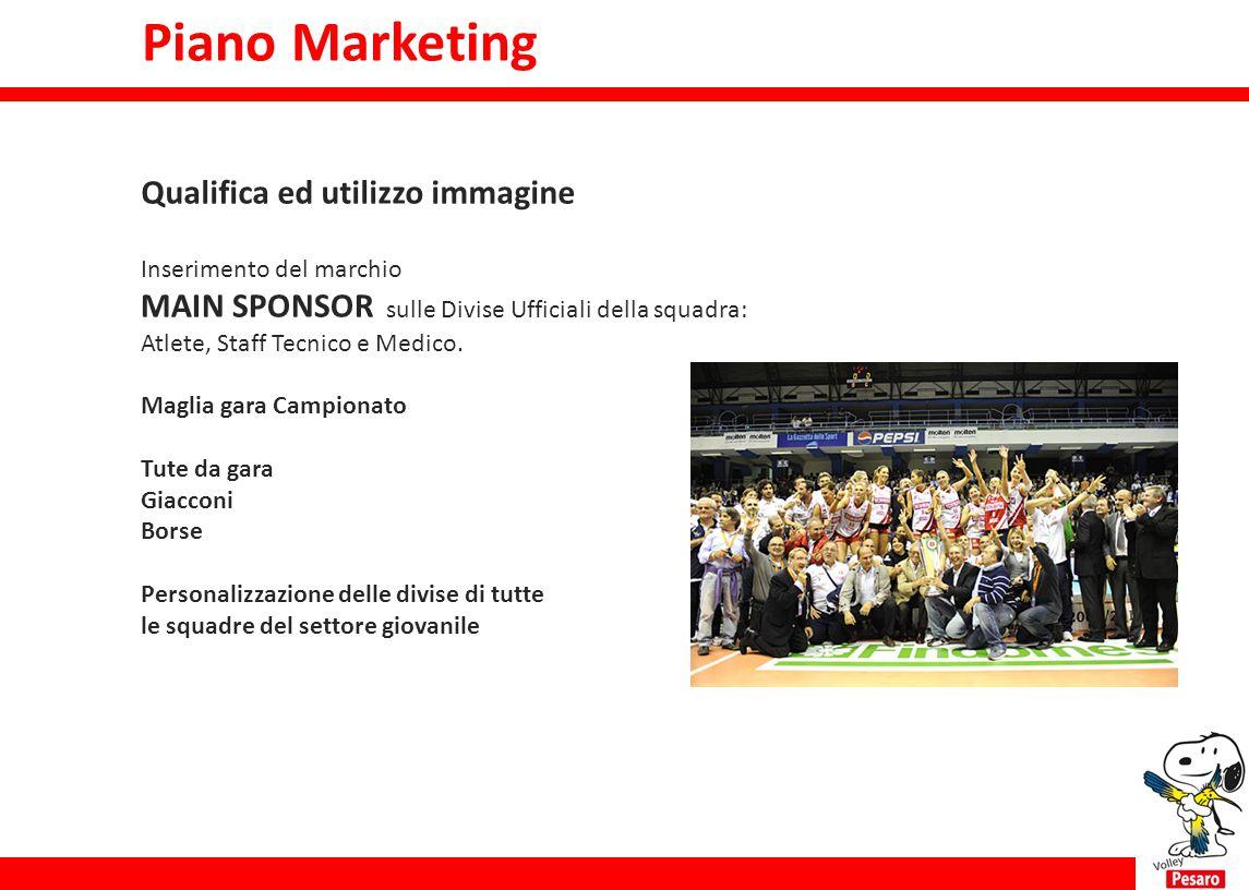 Piano Marketing Qualifica ed utilizzo immagine Inserimento del marchio MAIN SPONSOR sulle Divise Ufficiali della squadra: Atlete, Staff Tecnico e Medi