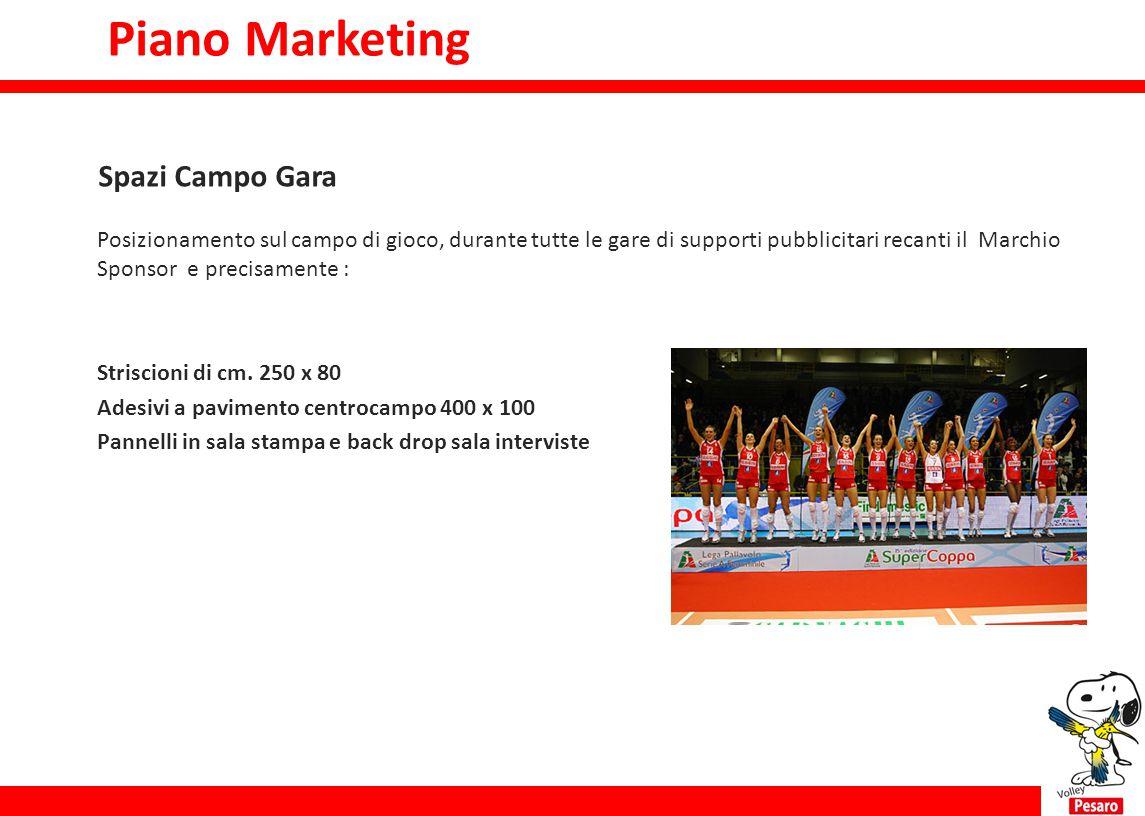 Piano marketing Posizionamento sul campo di gioco, durante tutte le gare di supporti pubblicitari recanti il Marchio Sponsor e precisamente : Striscio