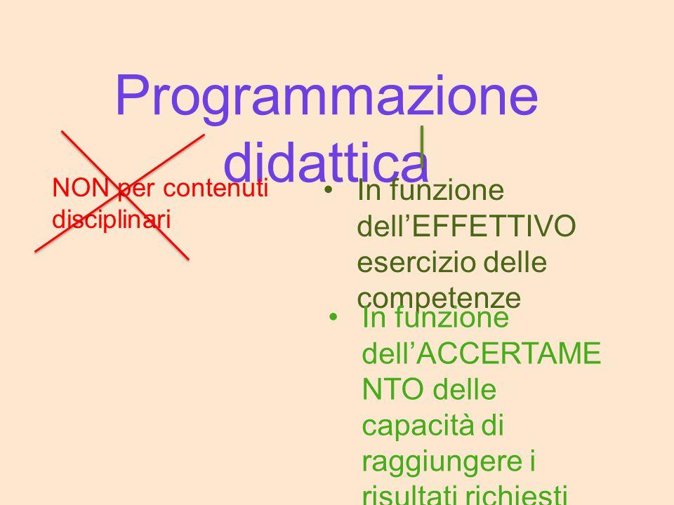 Programmazione didattica NON per contenuti disciplinari In funzione dell'EFFETTIVO esercizio delle competenze In funzione dell'ACCERTAME NTO delle cap