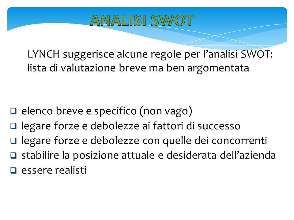 LYNCH suggerisce alcune regole per l'analisi SWOT: lista di valutazione breve ma ben argomentata  elenco breve e specifico (non vago)  legare forze