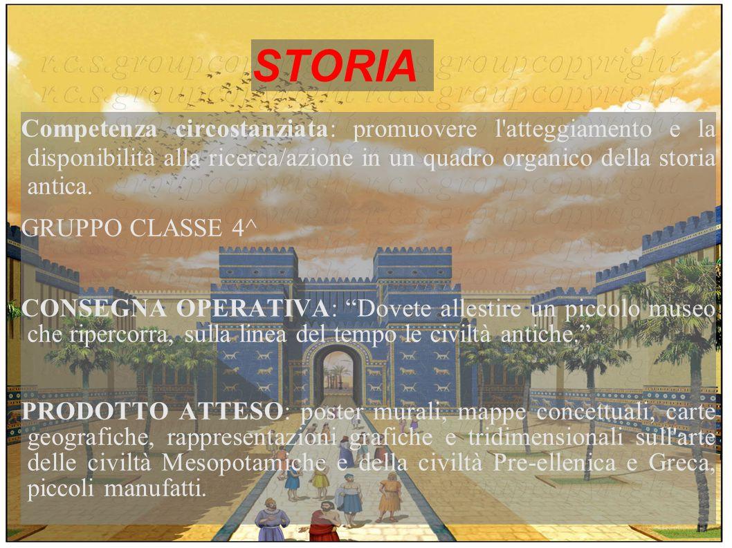 STORIA Competenza circostanziata: promuovere l'atteggiamento e la disponibilità alla ricerca/azione in un quadro organico della storia antica. GRUPPO