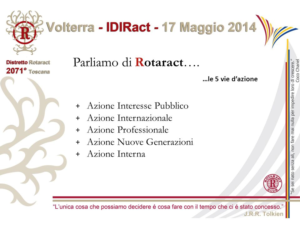 Parliamo di Rotaract… …le 5 vie d'azione + Azione Interesse Pubblico -Incoraggia e promuove l'applicazione dell'ideale del servire nella vita personale, professiona e civica di ogni Rotaractiano.