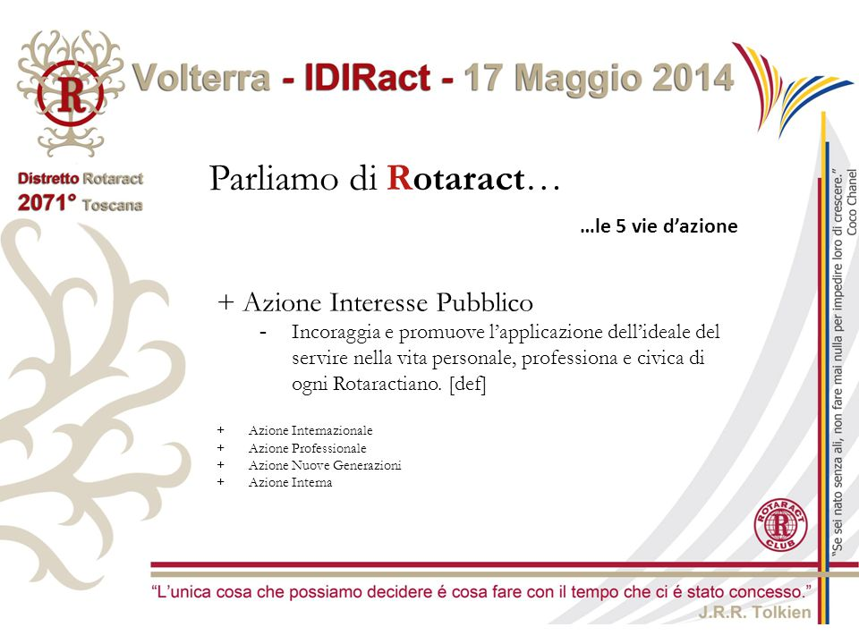 Parliamo di Rotaract… …le 5 vie d'azione + Azione Interesse Pubblico -Incoraggia e promuove l'applicazione dell'ideale del servire nella vita personal