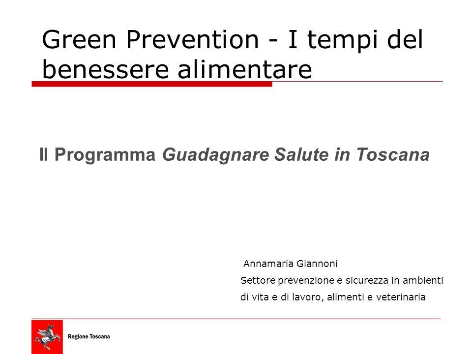 Green Prevention - I tempi del benessere alimentare Il Programma Guadagnare Salute in Toscana Annamaria Giannoni Settore prevenzione e sicurezza in ambienti di vita e di lavoro, alimenti e veterinaria