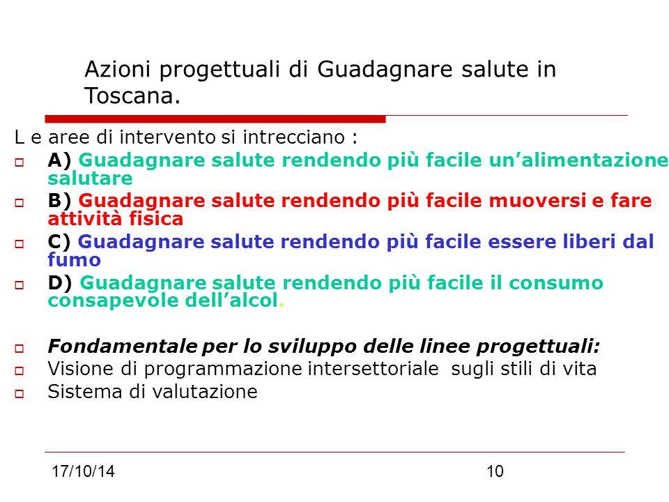 17/10/1410 Azioni progettuali di Guadagnare salute in Toscana.