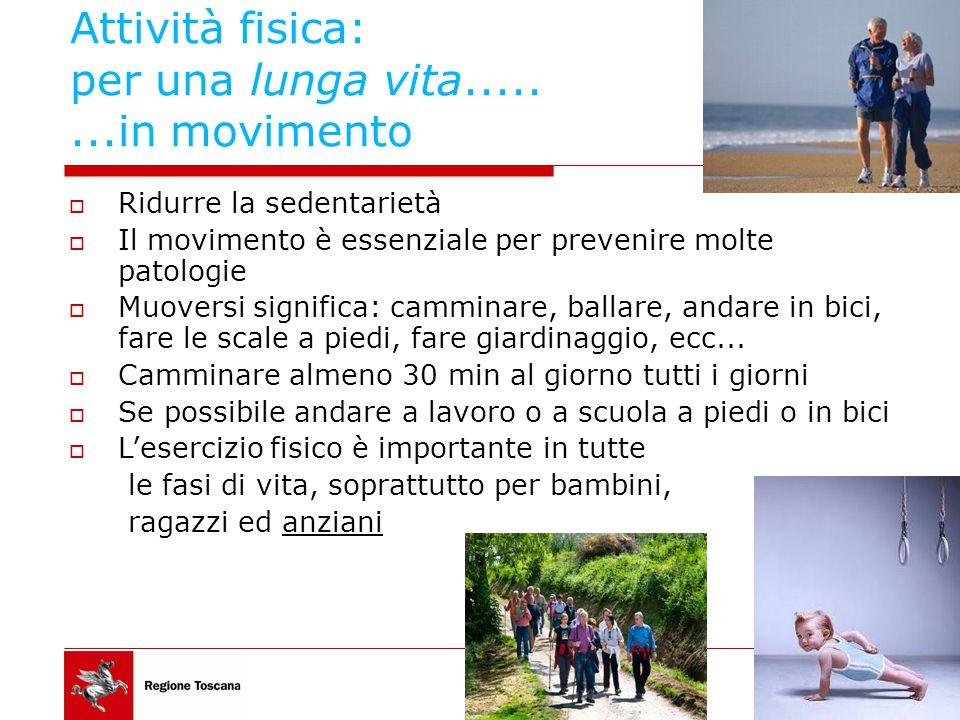 Attività fisica: per una lunga vita........in movimento  Ridurre la sedentarietà  Il movimento è essenziale per prevenire molte patologie  Muoversi significa: camminare, ballare, andare in bici, fare le scale a piedi, fare giardinaggio, ecc...