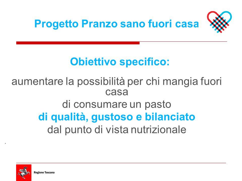 Progetto Pranzo sano fuori casa Obiettivo specifico: aumentare la possibilità per chi mangia fuori casa di consumare un pasto di qualità, gustoso e bilanciato dal punto di vista nutrizionale.