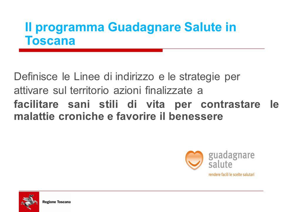 Definisce le Linee di indirizzo e le strategie per attivare sul territorio azioni finalizzate a facilitare sani stili di vita per contrastare le malattie croniche e favorire il benessere Il programma Guadagnare Salute in Toscana