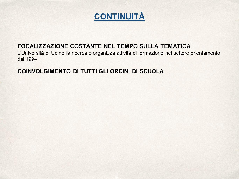 CONTINUITÀ FOCALIZZAZIONE COSTANTE NEL TEMPO SULLA TEMATICA L'Università di Udine fa ricerca e organizza attività di formazione nel settore orientamento dal 1994 COINVOLGIMENTO DI TUTTI GLI ORDINI DI SCUOLA