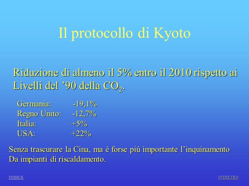 Il protocollo di Kyoto Riduzione di almeno il 5% entro il 2010 rispetto ai Livelli del '90 della CO 2.
