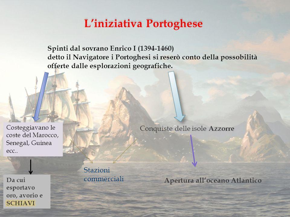 L'iniziativa Portoghese Spinti dal sovrano Enrico I (1394-1460) detto il Navigatore i Portoghesi si reserò conto della possobilità offerte dalle esplorazioni geografiche.