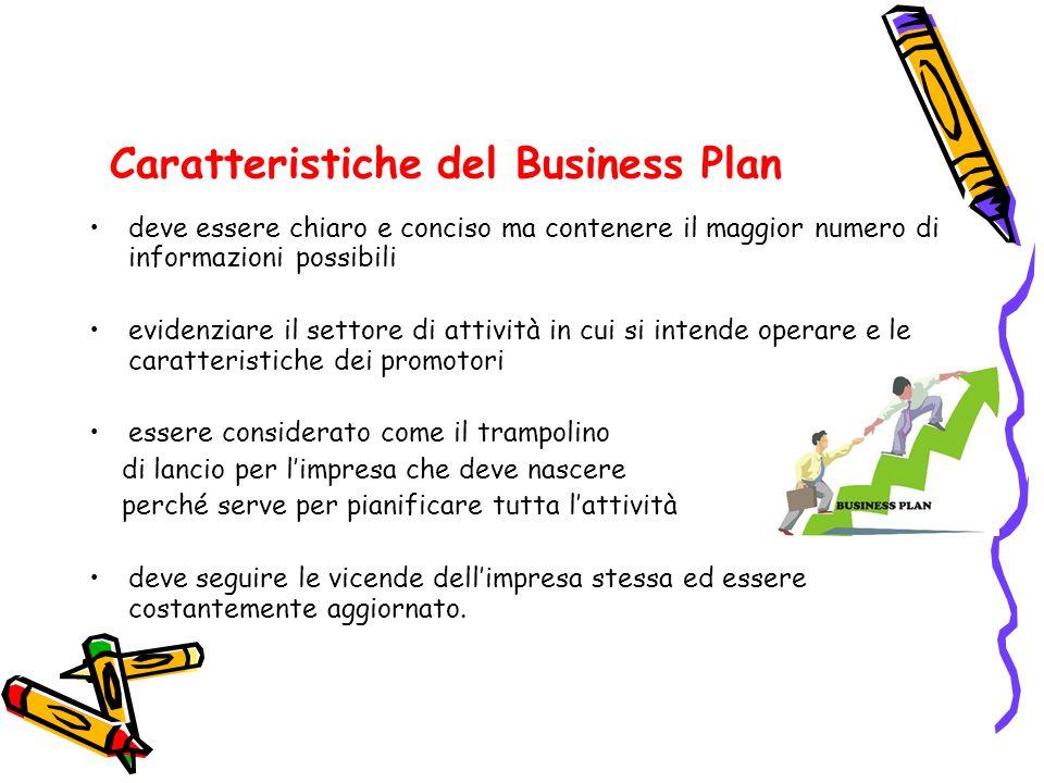 Caratteristiche del Business Plan deve essere chiaro e conciso ma contenere il maggior numero di informazioni possibili evidenziare il settore di atti