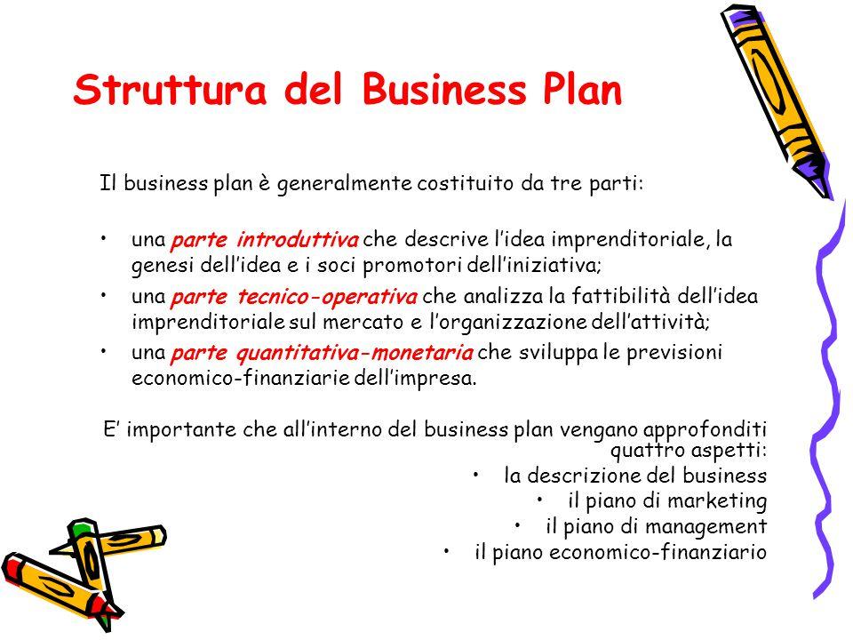 Struttura del Business Plan Il business plan è generalmente costituito da tre parti: una parte introduttiva che descrive l'idea imprenditoriale, la ge