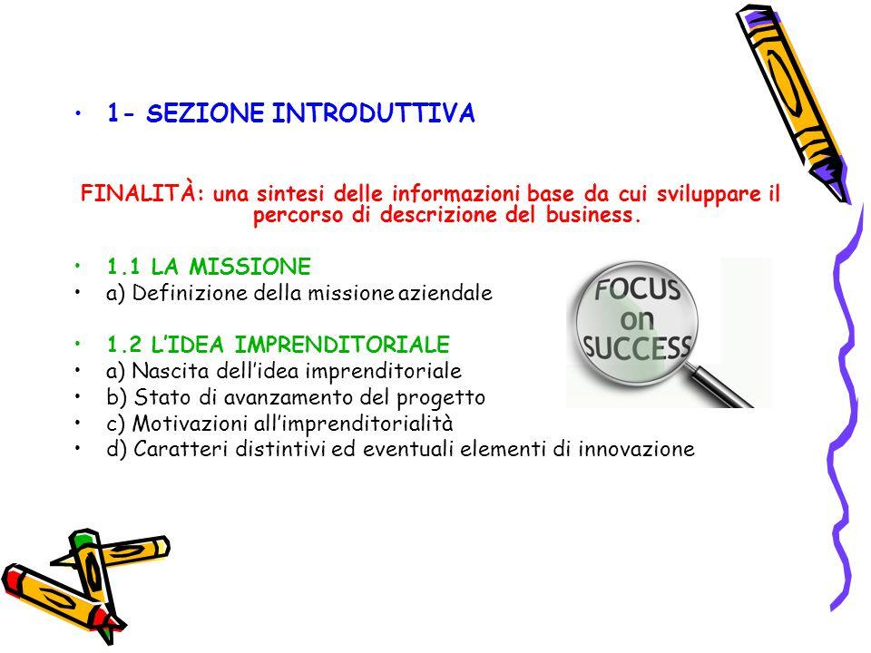 1- SEZIONE INTRODUTTIVA FINALITÀ: una sintesi delle informazioni base da cui sviluppare il percorso di descrizione del business. 1.1 LA MISSIONE a) De