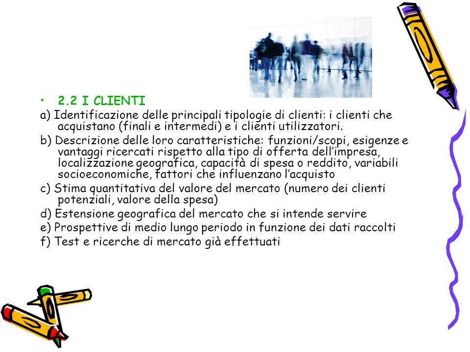 2.2 I CLIENTI a) Identificazione delle principali tipologie di clienti: i clienti che acquistano (finali e intermedi) e i clienti utilizzatori. b) Des