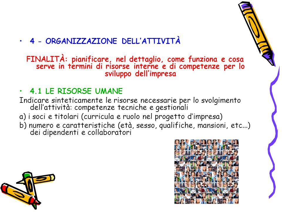 4 - ORGANIZZAZIONE DELL'ATTIVITÀ FINALITÀ: pianificare, nel dettaglio, come funziona e cosa serve in termini di risorse interne e di competenze per lo