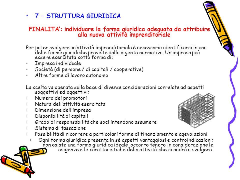 7 – STRUTTURA GIURIDICA FINALITA': individuare la forma giuridica adeguata da attribuire alla nuova attività imprenditoriale Per poter svolgere un'att