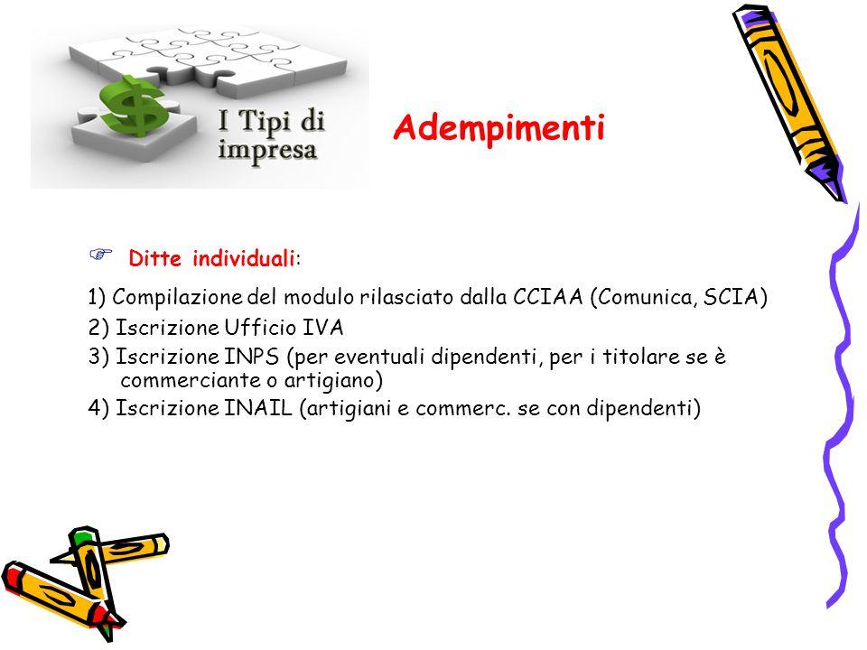 Adempimenti  Ditte individuali: 1) Compilazione del modulo rilasciato dalla CCIAA (Comunica, SCIA) 2) Iscrizione Ufficio IVA 3) Iscrizione INPS (per