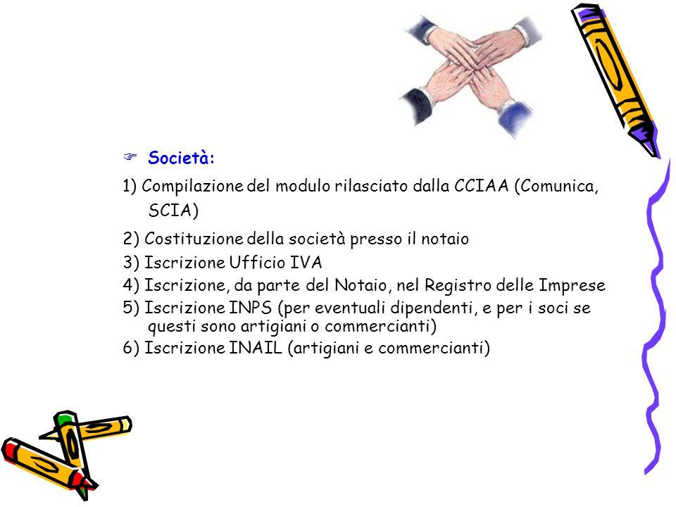  Società: 1) Compilazione del modulo rilasciato dalla CCIAA (Comunica, SCIA) 2) Costituzione della società presso il notaio 3) Iscrizione Ufficio IVA