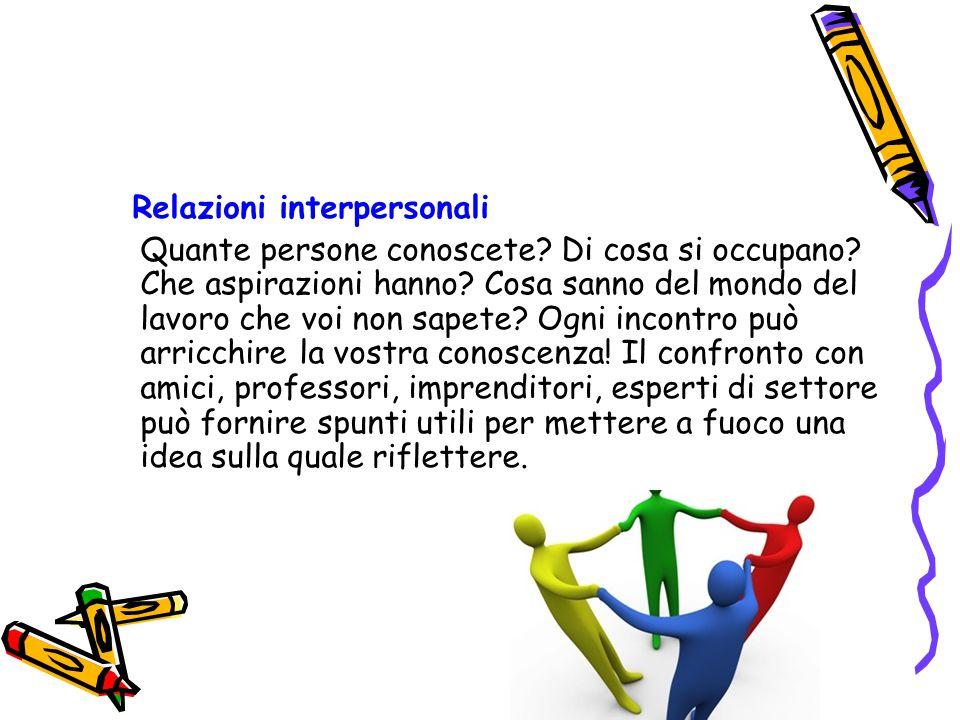 Relazioni interpersonali Quante persone conoscete? Di cosa si occupano? Che aspirazioni hanno? Cosa sanno del mondo del lavoro che voi non sapete? Ogn
