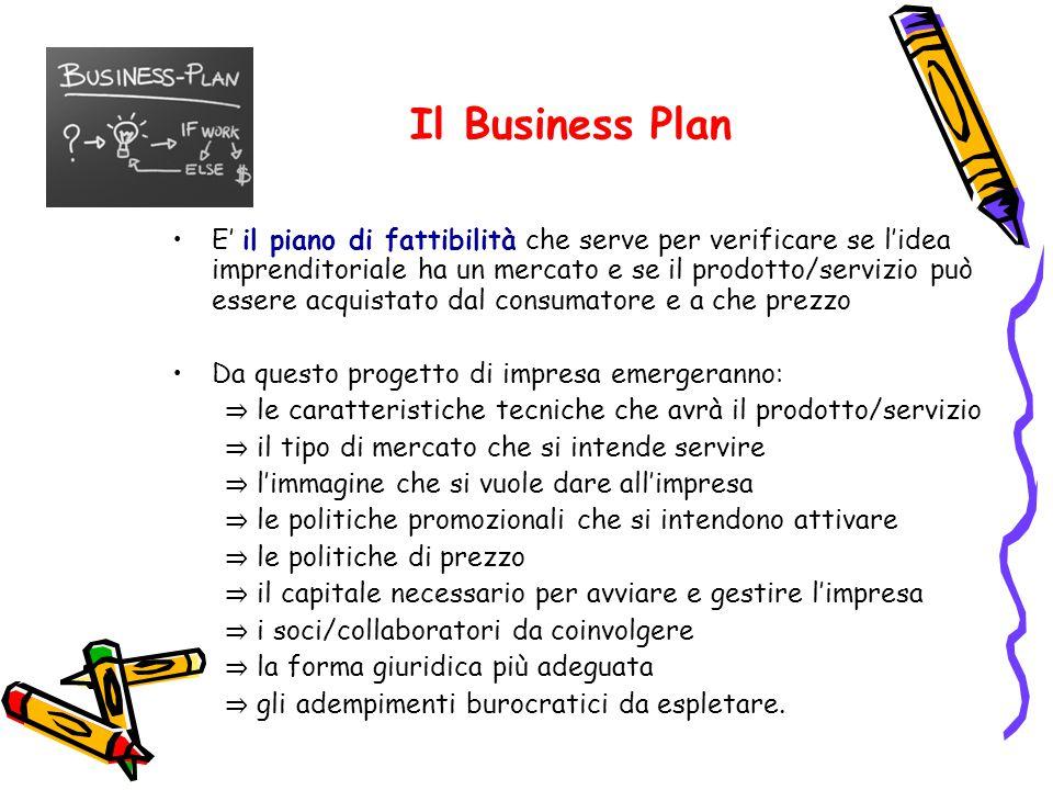 Il Business Plan E' il piano di fattibilità che serve per verificare se l'idea imprenditoriale ha un mercato e se il prodotto/servizio può essere acqu
