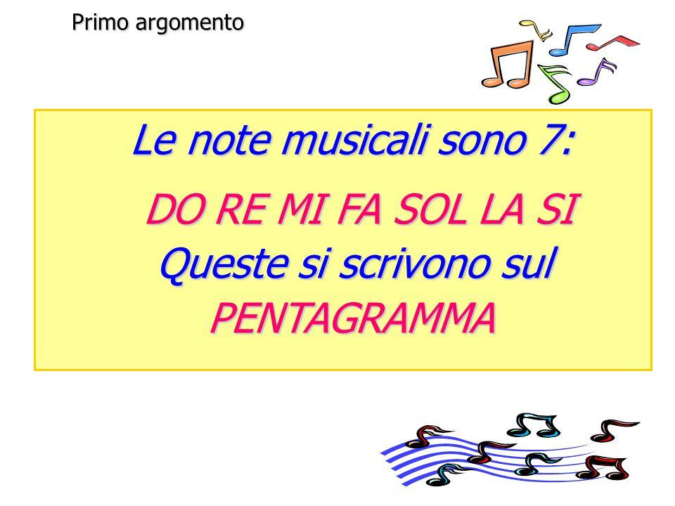 Le note musicali sono 7: DO RE MI FA SOL LA SI Queste si scrivono sul PENTAGRAMMA Primo argomento