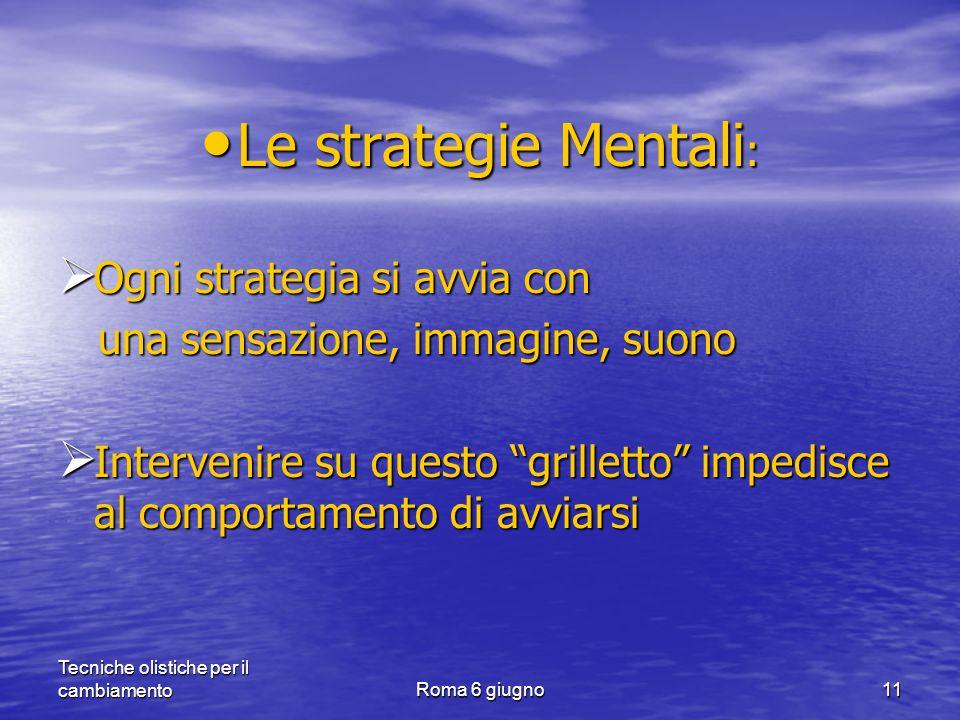 Tecniche olistiche per il cambiamentoRoma 6 giugno11 Le strategie Mentali : Le strategie Mentali :  Ogni strategia si avvia con una sensazione, immagine, suono una sensazione, immagine, suono  Intervenire su questo grilletto impedisce al comportamento di avviarsi