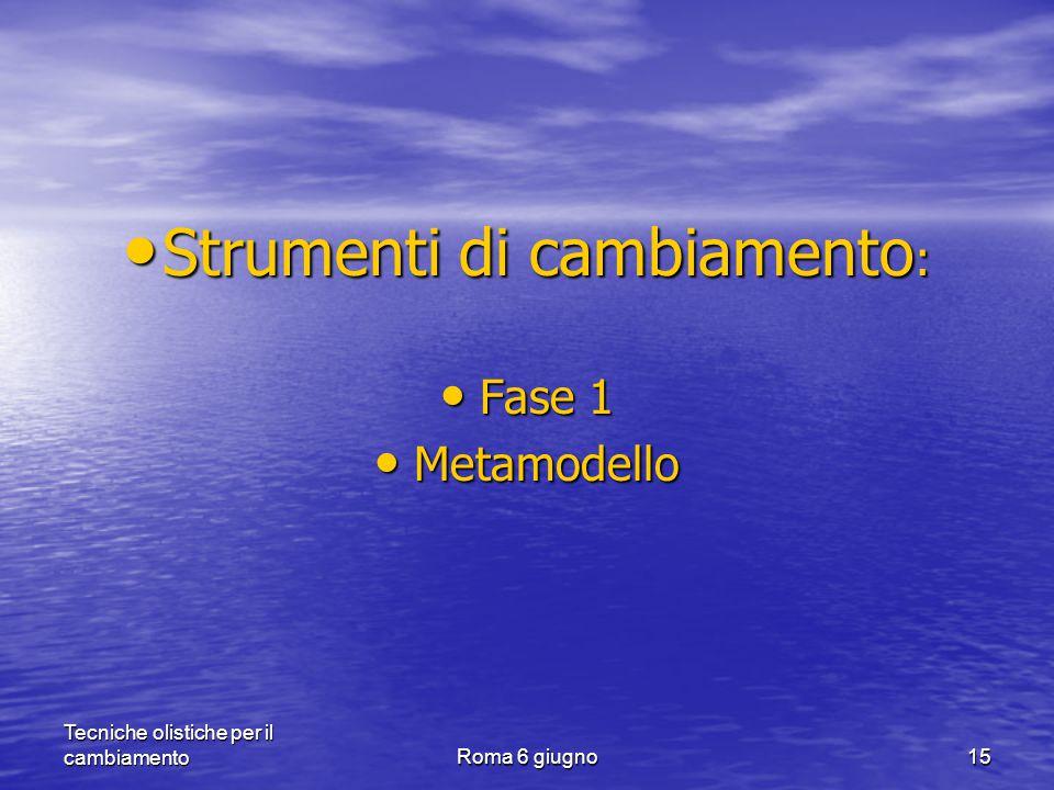 Tecniche olistiche per il cambiamentoRoma 6 giugno15 Strumenti di cambiamento : Strumenti di cambiamento : Fase 1 Fase 1 Metamodello Metamodello