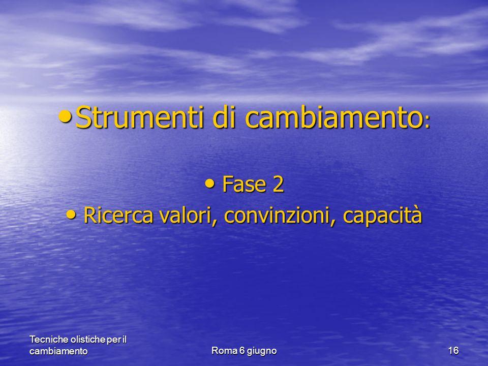 Tecniche olistiche per il cambiamentoRoma 6 giugno16 Strumenti di cambiamento : Strumenti di cambiamento : Fase 2 Fase 2 Ricerca valori, convinzioni, capacità Ricerca valori, convinzioni, capacità